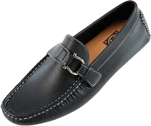 Amali Mens Casual Driving Moccasin Loafer in Black Smooth With Silver Ornament: Style 1706 Black-000 12 D (M) US