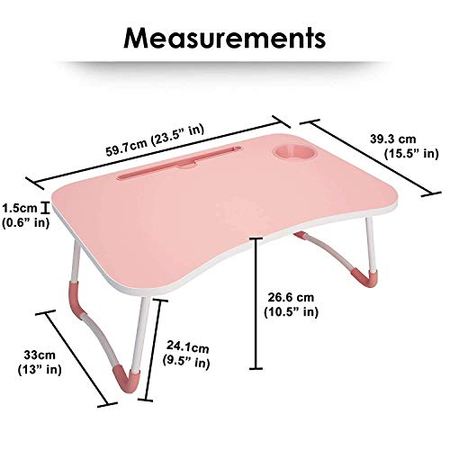 P P Enterprise Wooden Smart Multi-Purpose Laptop Table with Cup Holder/Dock Stand/Study Table/Bed Table/Foldable and Adjustable/Portable Ergonomic Desk Tray (Pink)