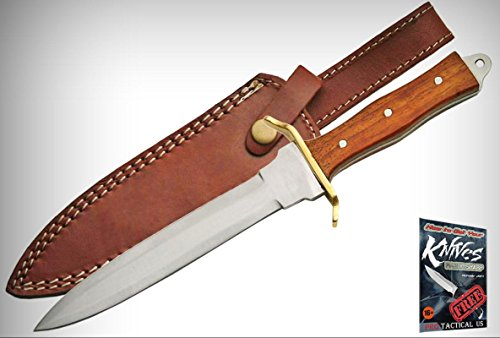 "Commando Dagger 11.5"" Double Edge Blade Elite Knife Wood Handle Full Tang + Sheath + free eBook by ProTactical'US"