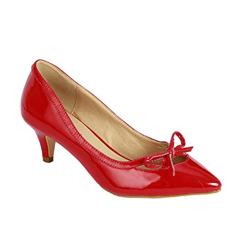 Coshare Women's Fashion Patent Bow Front Low Heel Pumps, Red, 6 M US