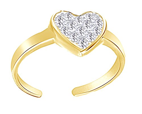 (Wishrocks Round Cut Cubic Zirconia Heart Toe Ring in 14K Gold Over Sterling Silver)
