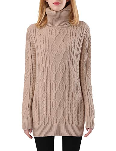 PrettyGuide Women's Long Sweater Turtleneck Pullover Tunic Sweater Tops XS Beige