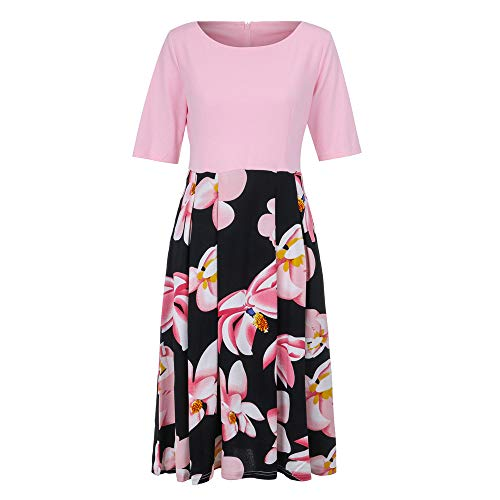 DongDong Working High Waist Dresses, 2019 Women Patchwork Print Office Party Casual Long Dress Pink