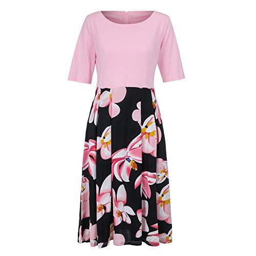 DongDong Working High Waist Dresses, 2019 Women Patchwork Print Office Party Casual Long Dress