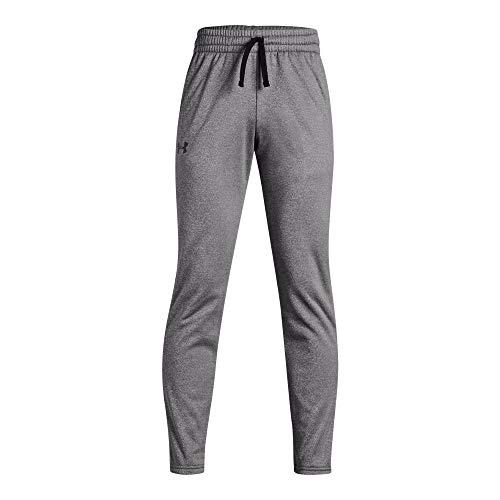 Under Armour Boys' Armour Fleece Pants, Charcoal Light Heath (019)/Black, Youth Medium