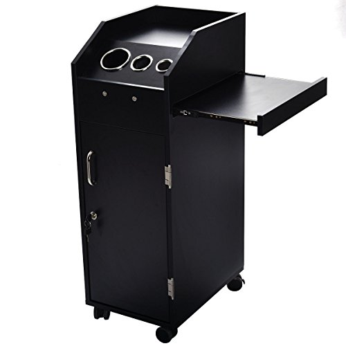 35'' Black Rolling Multi Layer Cart Hairdresser Salon Trolley Station w/ 4 Drawers by FDInspiration