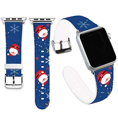 Claus Bands for iWatch 40mm/38mm,Jolook Soft Leather Sport Style Replacement Band Strap for iWatch 40mm Series 4 Series 1/2/3 38mm - Cute Santa Claus