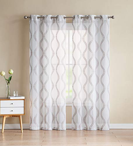 Set of Two (2) White Sheer Window Curtains: Gold/Taupe Embroidered Geometric Wave Design 96