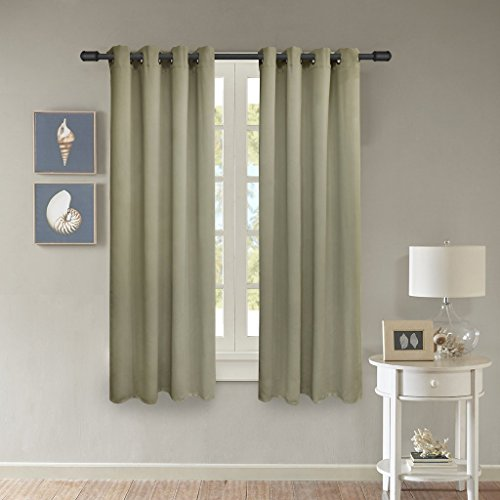 Solid Microfiber - FY-LIVING Microfiber Solid Woven Blackout Curtains with Grommets, Two Panels, 52