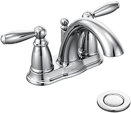 Moen 6610 Brantford Two-Handle Low-Arc Centerset Bathroom Faucet with Drain Assembly, Chrome Renewed
