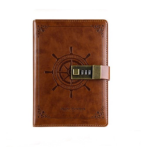 (Nainaiwu PU Leather Business Notebook Classic Writing Notepads Professional Journal Book Locked with Pen Holder and Pockets (Brown))