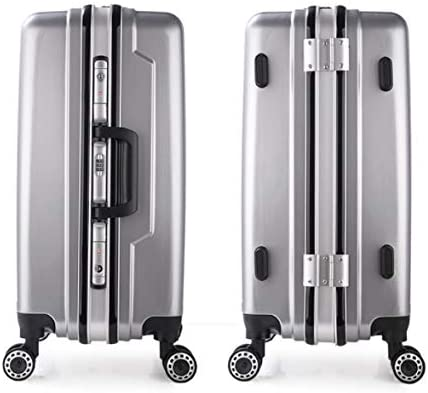 Tjtz Universal Wheel Trolley case Aluminum Frame 24 inch Men and Women Suitcase Gift Box Color : Silver, Size : L