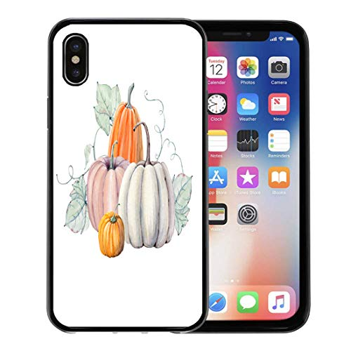 Semtomn Phone Case for Apple iPhone Xs case,Green Fall Pumpkins Watercolor Painting on Colored Vegetables Autumn Halloween for iPhone X Case,Rubber Border Protective Case,Black]()