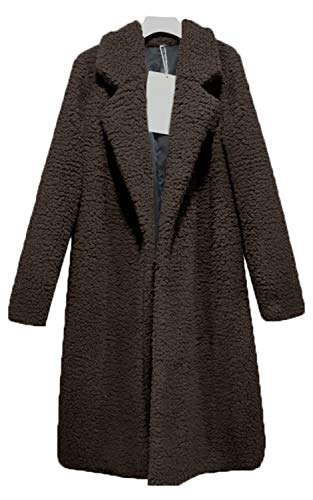 Women Warm Winter Oversized Outwear Jackets Fuzzy Cardigan Coat 2018 Outfits for Women Brown-M (Jacket Holiday Womens)