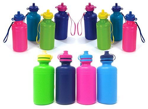 4E's Novelty Water Sports Bottles for Kids & Bikes, Pack of 12 Bulk, 7.5 inches, Great Summer Beach Accessory, Neon Colors - Holds About 18oz of Water]()