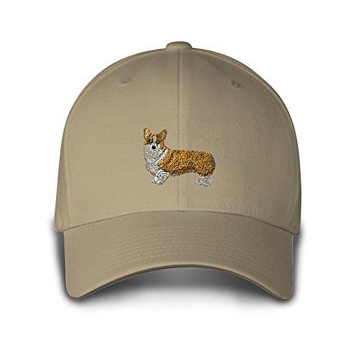 PEMBROKE WELSH CORGI DOGS CATS PETS Embroidery Embroidered Adjustable Hat Cap Khaki