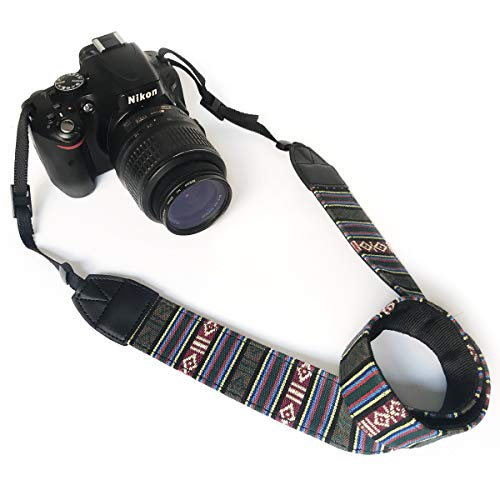 Camera Neck Shoulder Belt Strap,Alled Leather Vintage Print Soft Camera Straps for Women/Men for DSLR/SLR/Nikon/Canon/Sony/Olympus/Samsung/Pentax (Soft White and Green)