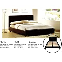 Faux Leather Platform Bed with Built In Box Spring and Headboard (Queen)