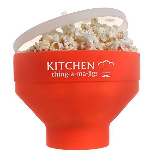 KITCHEN THINGAMAJIGS MICROWAVE POPCORN POPPER - Red Silicone - Single Serve - BPA-Free - Reusable Collapsible Bowl With Lid - Kitchenworthy Safe Premium Maker - Using Oil and/or Butter (Jig Premium)