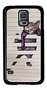 Abstract Cat DIY Hard Shell Black Designed For Samsung Galaxy S5 I9600 Case
