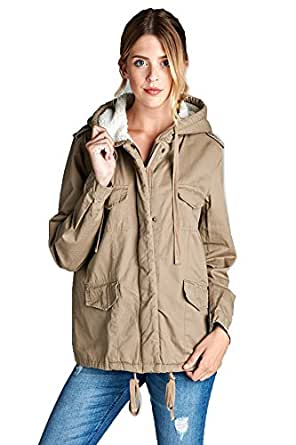 Shopglamla Fur Lined Cotton Hooded Drawstring Utility Jacket Abby Khaki S