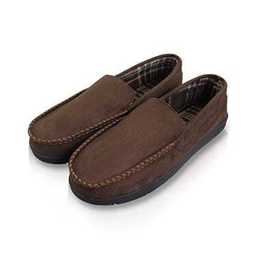 VLLY Men's Pile Lined Microsuede Bedroom Outdoor Slip-On Moccasin Slippers US 13 Brown