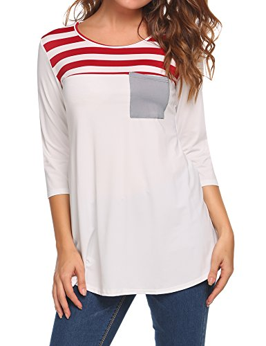 EASTHER Women's Crew Neck 3/4 Sleeve Tops Contrast Color Striped Loose Baseball Tee Shirt Blouse with Pocket Small