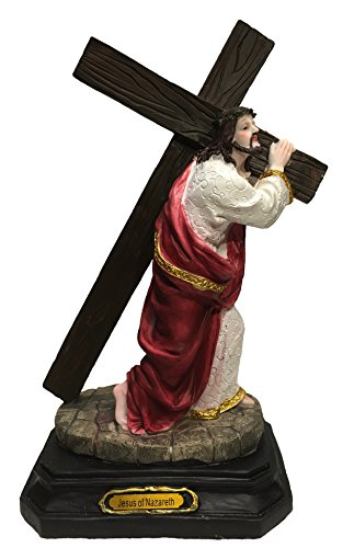 11 inch Jesus Carrying the Cross Statue Home Decor Figurine Christ Pure Faith Jesus of Nazareth Via-200Crusis Statue ()