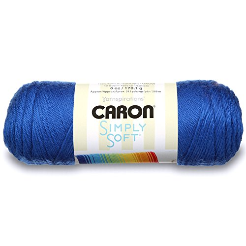 - Caron H970039767 Simply Soft Solids Yarn (4) Medium Gauge 100% Acrylic - 6 oz -   Royal Blue  -  Machine Wash & Dry