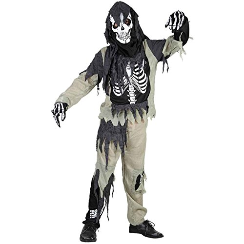 Boys Girls Halloween Zombie Skeleton Costume Age 4-12 Years (Small (Age 4-6 Years), Black)