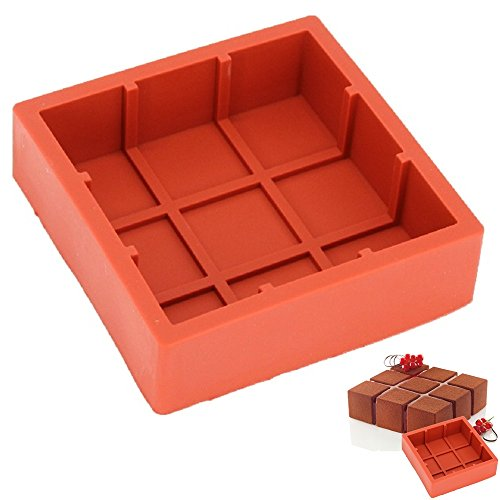 New Arrival Wine Red Silicone 3D Square Castle Shape Mold for Mousse Cake Pudding Brownie Cheesecake Bakeware Tools