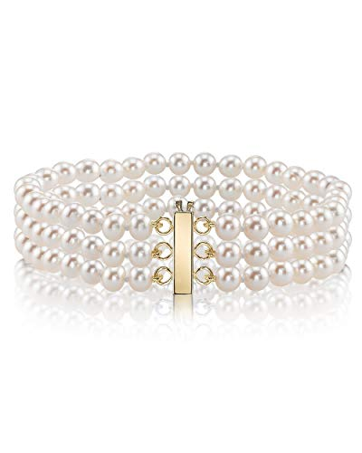 THE PEARL SOURCE 14K Gold 6-7mm AAAA Quality Round White Triple Freshwater Cultured Pearl Bracelet for Women