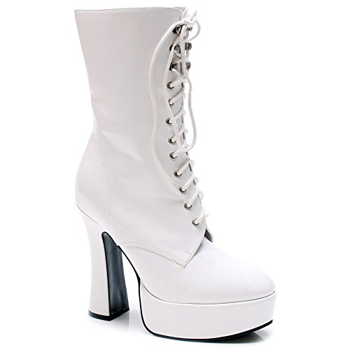Exotic Chunky Platform Lace-Up Ankle Boot, Pole Dancing, Clubwear Gogo-A White/Patent Size 11