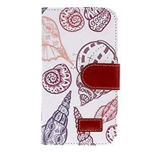 comprar Conch Dibujo PU Cortina impresión del cuero de la piel de plástico duro volver para cubrir las bolsas de la Samsung Galaxy S4 i9500