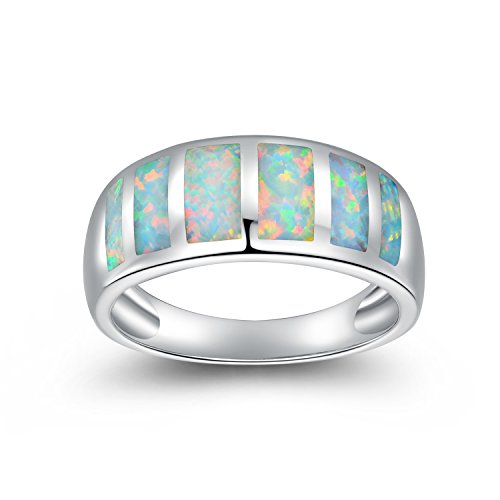 - OPALTOP White Opal Birthstone Gemstone Eternity Promise Wedding Ring Platinum Plated for Womens Girl (8)