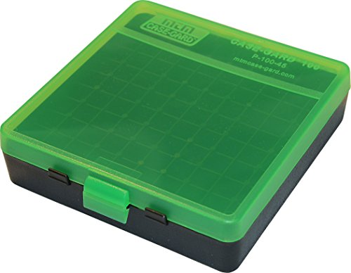MTM 100 Round Flip-Top Ammo Box 40/45/10MM Cal (Clear Green/Black) (Best 25 Acp Ammo)