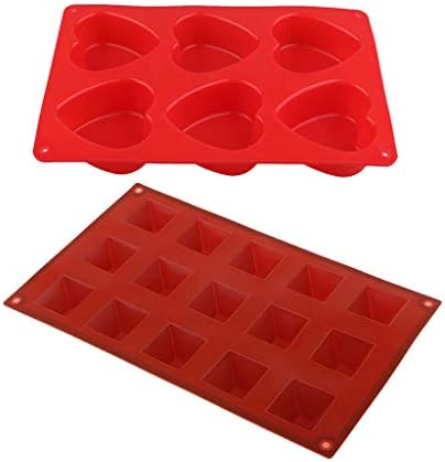 dailymall 2個入り シリコンモールド ピラミッド型 ハート型 フォンダンケーキ シリコーン 金型 使用 便利