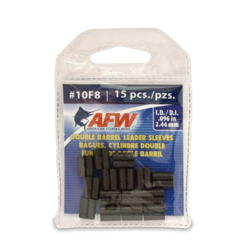 American Fishing Wire Double Barrel Crimp Sleeves, Black Color, Size 4F8, 0.044 -Inch Inside Diameter, 100-Pieces, Outdoor Stuffs