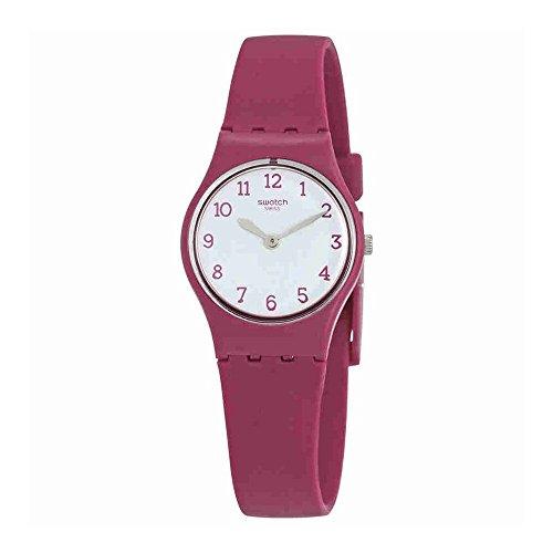 Swatch Redbelle White Dial Ladies Matte Burgundy Watch LR130