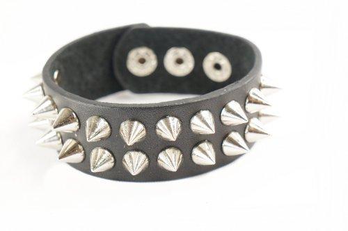 [Punk Gothic Biker 2 Rows 22 Cone Faux Black Leather Wide Bracelet Wristband] (Emo Rocker Costume)