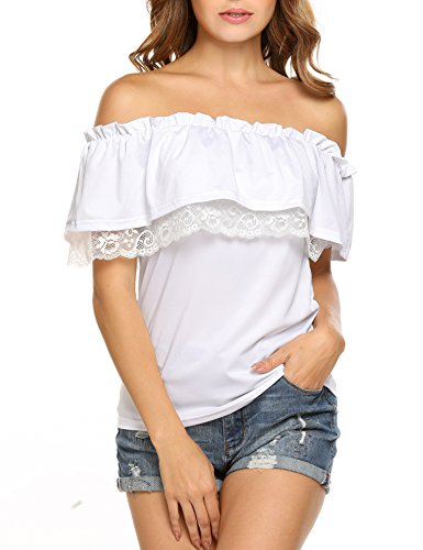 Ruffle Top Denim (Women Lace Trim Off Shoulder Blouse Strapless Tops, White, Medium)
