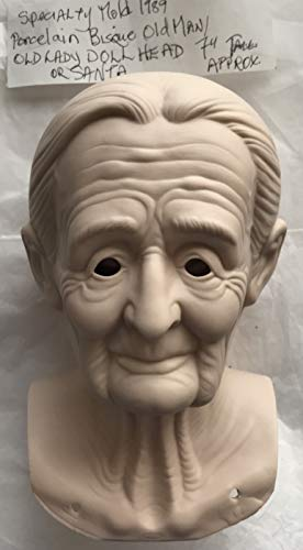 Craft 1 Porcelain Bisque Old Man or Old Lady Doll Head Only Approx. 7