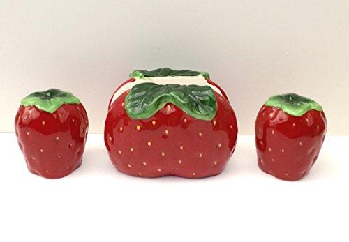 3D Strawberry 3 Piece Salt and Pepper Set