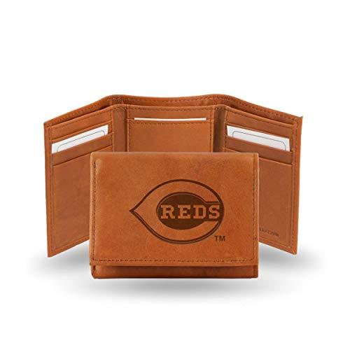 Cincinnati Reds MLB Team Logo Embossed Brown Leather Trifold Wallet