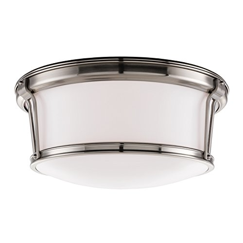 Newport Flush 3-Light Flush Mount - Satin Nickel Finish with Opal Glossy Glass Shade