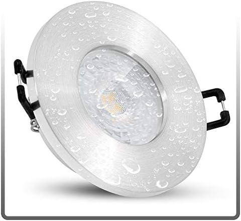 linovum ISASO Einbauspot LED flach IP65 für Bad & Dusche - mit LED Modul 5W neutralweiß 230V - Deckenstrahler Alu gebürstet