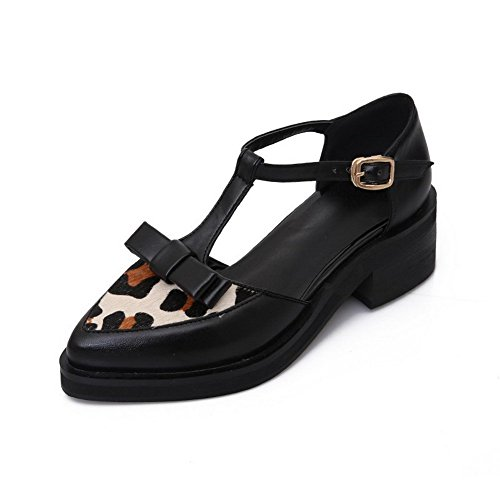 AgooLar Women's Soft Material Buckle Pointed Closed Toe Kitten-Heels Assorted Color Sandals, Black, 44