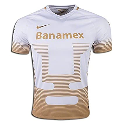 2015-2016 Nike UNAM Pumas Away Replica Soccer Jersey (White/Gold) (