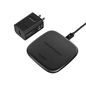 Fast Wireless Charger RAVPower 7.5W for iPhone X, 8 & 8 Plus with HyperAir, 10W Qi Wireless Charging Pad for Galaxy S9, S9+, S8, S7 & Note 8 and All Qi-Enabled Devices (QC 3.0 Adapter Included)