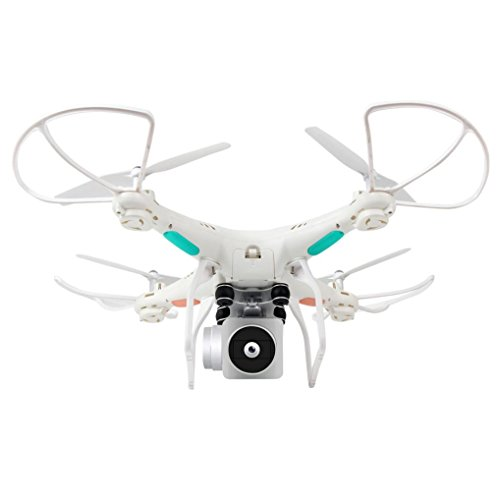 Dacawin Wide Angle Lens HD Camera Quadcopter RC Drone WiFi FPV Live Helicopter Hover (white, 31.531.510.5cm) by Dacawin